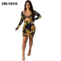 Casual Dresses CM.YAYA Women Paisley Print Long Sleeve Deep Neck Bodycon Midi Dress Sexy Club Party Mini Pencil 2021 Spring