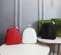 Designer Luxo Matelassé Marmont Beige Leather Backpack 476671 Daypack Couro Vermelho Mulheres Feminina Feminina Backpack Preto Tamanho: 22.5x26x11cm