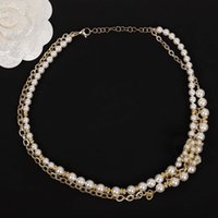 2021 Top quality choker chain pendant necklace with nature pearl beads in 18k gold plated double layers for women wedding jewelry gift have box stamp PS3038A