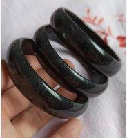 56-60mm natural Xinjiang black green jade handmade jade bracelet free del ivery