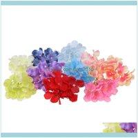 Decorative Flowers Wreaths Festive Party Supplies Home & Garden10 Pieces 10Cm Silk Artificial Hydrangea Flower Head For Wedding Decor Wreath