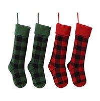 Buffalo Check Christmas Socks 5 Styles Plaid Xmas Socks Stocking Indoor Candy Gift Bag Christmas Decorations OOA7297-2