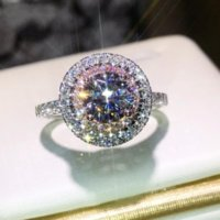 라운드 컷 핑크 화이트 사파이어 CZ 다이아몬드 보석 색상 여성 웨딩 밴드 링 K5670