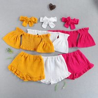 Kinderkleidung Sets Girls Outfits Kinder Bogen + Schürfende Blumenhülle Tops + Rüschen Shorts 3pcs / sets Sommer Mode Boutique Baby Kleidung Z2907
