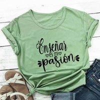 Ensino é minha paixão 100% de algodão mulheres camiseta espanhol camisetas professores verão engraçado casual manga curta top presente para professor Y0606
