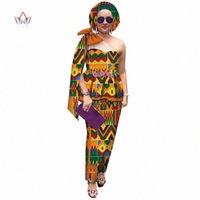 Saia de verão Set Africano Dashiki Mulheres Tradicional Bazin Print Plus Size Dashiki Vestidos Africanos para Mulheres Terno 2 Pieces WY4602 H28N #