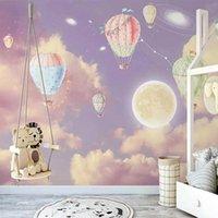 Fondos de pantalla Tamaño personalizado Popular Popular autoadhesivo 3D Fantasy Starry Sky Air Balloon Dormitorio para niños Pintura de pintura