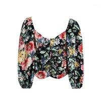 Klacwaya frauen 2020 mode floral druck gefaltete croppte blusen vintage v ausdrück puff sleeve weibliche shirts blusas schicke tops1