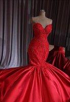 Luxury Dubai Red Beaded Mermaid Wedding Dresses 2020 New Lace Crystal Trumpet Bridal Gowns Royal Train Sweetheart Robe De Mariee