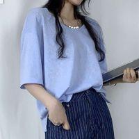 Thirteen line Korean women's wear new round neck short sleeve fashion brand casual loose top T-shirt for women in summer 2021