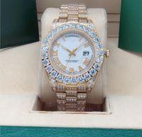 2022 43mm pençe çerçeve büyük elmaslar otomatik adam izle, yüksek kaliteli paslanmaz çelik cz tamamen buzlu elmas roma belirteçleri altın kabuk erkek saatler (kırmızı arama) watch12