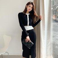 Robe de deux pièces Hamaliel Spring Sweater d'automne Set Fashion Femmes Noir Black Cardigan Manteau et Jupe à crayon midi à poitrine unique