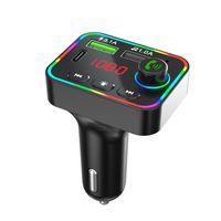 بلوتوث سيارة كيت يدوي التحدث اللاسلكي 5.0 وزير الخارجية الارسال شاحن USB محول مع ضوء المحيط الملون أدى عرض مشغل موسيقى الصوت MP3