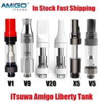 Original ITSUWA AMIGO LIBERTY V1 V5 V9 V20 X5 Atomizador de cartuchos 0.5ml 1.0ml Tanque Cerámico Cerámico Vaporizador de aceite grueso Carritos para batería máxima 100% auténtico
