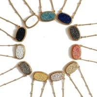 الأزياء druzy drusy قلادة kendra الفضة مطلية بالذهب فو الحجر الطبيعي سكوت القلائد أقراط للنساء ماركة المجوهرات