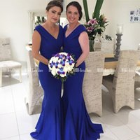 Bridesmaid Dress Elegant V-neck Mermaid Dresses Zipper Up Back Long Wedding Party Blue Satin Mother Of The Bride
