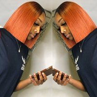 Brazilian Virgin 13X4 Lace Front wigs Short BOB 1B Orange Omber color Pre Plucked Natural Hairline Indian Peruvian Hair Bleach Knots 180% Density Malaysian