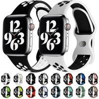 Weiches Silikonband Band Duale Farben Schleifen Riemen für Apple Watch iWatch Serie 6 2 3 4 5 38mm 42mm 40mm 44mm Armband