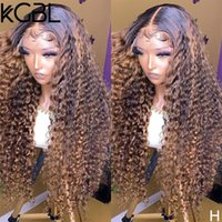 Lace Wigs KGBL Curly Highlight 13*6 Front Human Hair 150% Density 8-24'' Non-Remy For Women Pre-Plucked Brazilian Medium Ratio