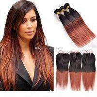 1B 33 ombre pacotes de cabelos brasileiros com fecho de renda reta 4 pcs dois tons de cabelo colorido com fecho tecer cabelo castanho escuro