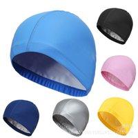 Унисекс водонепроницаемый сплошной цвет плавать шапки шляпы уха защита дышащая мягкая комфортабельная не плотная взрослый PU плавательные шапки оптом