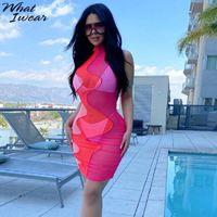 Vestidos casuales WhatIwear Mesh Mujeres Sexy Ver a través del contraste Patchwork Mini vestido Estética Bodycon Sin mangas Verano Club Ropa Slim Outfit
