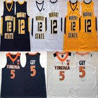 12 JA Morant Donanma Sarı Beyaz Murray Devlet Racers NCAA 5 Kyle Guy Virginia Cavalier Koleji Basketbol Formaları