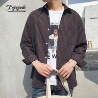 Мужские повседневные рубашки Fojaganto 2021 японская рубашка весна и осень прилив бренд полосатый с длинными рукавами