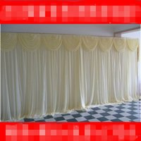 10FTX20FT Wedding Decoration Event Panel Detachable Voile Drape Backdrop Curtain With Swag Ice Silk Gauze Party Decor Ceiling