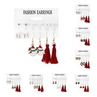 Party Favor 8 style Christmas Earrings 6pair   set socks bell pearl tassel combination card Ear Hook Set T2I52791