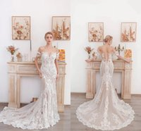 Bateau Off Shoulder Wedding Dress 2021 Designer Lace Appliqued Long Mermaid Beach Bridal Gowns Boho Garden Illusion Button Back Brides Vestido De Novia AL9580