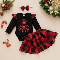 Clothing Sets 3PCS Autumn Baby Girls Wrinkle Long Sleeves Christmas Printed Letter Romper Top+Plaid Cake Skirts+Headbands Outfits Set Enfant