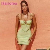 Vestidos informales Karlofea Corsé Bodycon Ropa Ropa Cumpleaños Sexy Discoteca Fiesta Use Encantadores trajes verdes para mujer 2021 y2k Strappy Summer