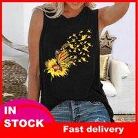 40#Women Sleeveless T Shirt Summer Sexy Harajuku Sunflower Printing Casual Tank Tunic Tops O Neck Pullover Elegant T-Shirt Women's