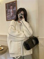 2021 New Autumn Winter Preppy style Mid-Length Womens Sweater Coat Design Loose Long Sleeve Knitted Cardigan coats