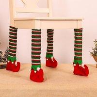 Chair Covers 4pc Christmas Leg Socks Cloth Floor Protection Pads Elf Table Cover Anti-slip Legs Furniture Feet Sleeve