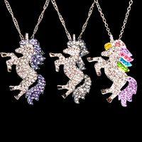 Ютон мода фиолетовый красочный белый кристалл единорог металлический кулон цепи ожерелье женщины девушки украшения подарок
