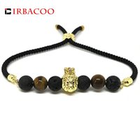 Charm Bracelets IRBACOO 2021 Fashion Men Bracelet CZ Lion Lava And Tiger Eyes Stone With Lucky Cord For Mens Jewelry Gift