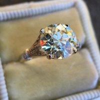 النساء 2.5ct جولة قطع الأبيض محاكاة مويسانيت الزركون خاتم الخطوبة خمر الكلاسيكية انخفاض في مخزون حلقات الزفاف