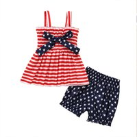 Fashion summer children's clothing sleeveless set red and white stripe girl outfit holiday sling + bow design wholesale sweet western style suit July 4th
