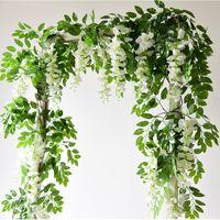 Wisteria artificial Ivy hoja guirnalda seda rosa s rattan cadena vid de boda arco flor flor jardín decoración