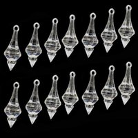 6 12pcs Clear Acrylic Hanging Diamond Beads For Wedding Chandelier Party Craft Home DIY Decoration Crystal Pendant 17 X 46mm