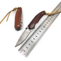 Handgemachtes Camping Faltendes taktisches Messer 8cr18 / Damaskus-Stahl-Jagd-Überleben-Frucht-Taschenmesser EDC-Dienstprogramm Multi-Tools