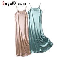 Suyadream Frau Maxi Kleid 100% Seiden Satin Sleeveless Solid Spaghetti Strap Lange Kleider 2021 Elegante Chic Slip Kleid Y0628