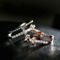 Trendy femmina arco di cristallo anello aperto anello rosa oro argento anelli di nozze per donne dainty bianco zircone cavità fidanzamento