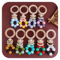 DIY Perles colorées Bébé Teher Beather Anneaux En Bâtiment Silicone Silicone Todger Enfant Chew Jouets Bâton de dents en molaire bois
