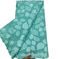 Dentelle laine de voile suisse en Suisse Vert clair Tissu de coton de poinçon africain de haute qualité pour la tenue de soirée 5YARD / Lot