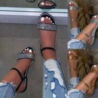 Sandals Flat Women Summer Dressy Strappy Rhinestone Slipper Shoes Soft Breathable Elastic Easy Match Fashion Design Daily Wear