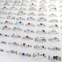 Fashion Simple Band Silver Plated Metal Colorful Diamond Love Rings For Men Women Mix Style Party Gifts Wedding Jewelry Wholesale C3