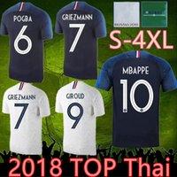 4xl France 2 star jersey 18 19 france soccer jerseys HENRY 2018 mbappe GIROUD kante maillot de foot ZIDANE 18 19 football shirts